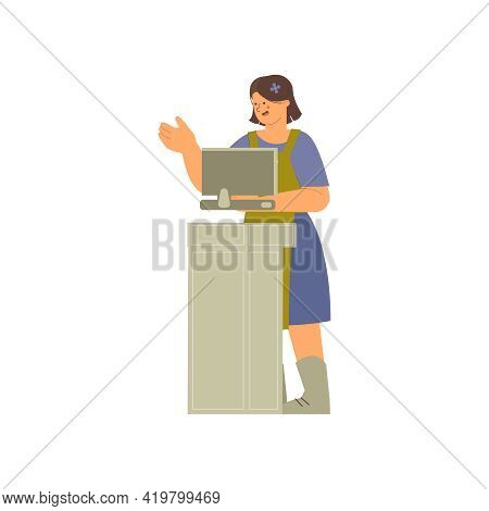 Floristics Flat Composition With Human Character Of Female Florist Standing At Counter On Blank Back