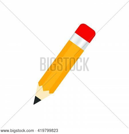 Pencil With Red Rubber Icon. Education Equipment. Stationery Office Element. Yellow Pencil. Vector I