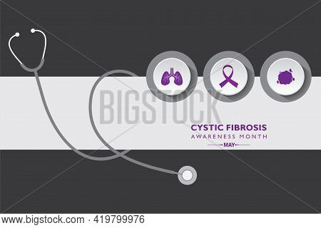 Vector Illustration Of Cystic Fibrosis Awareness Month Observed In May. It Is A Progressive, Genetic