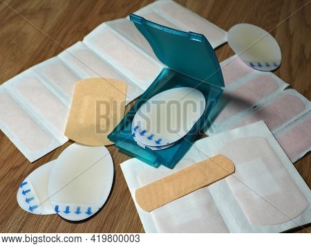 Different Medical Patches, Adhesive Bandage, Adhesive Plaster. Medical Protection Patch For First Ai