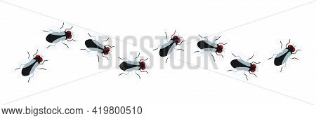 Fly Insect Icon Set. Small Flies Line Way. Vector Isolated On White Background.