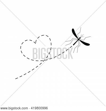 Mosquito Flying On A Dotted Route In Heart Shape. Lovely Mosquito Character. Vector Cute Illustratio