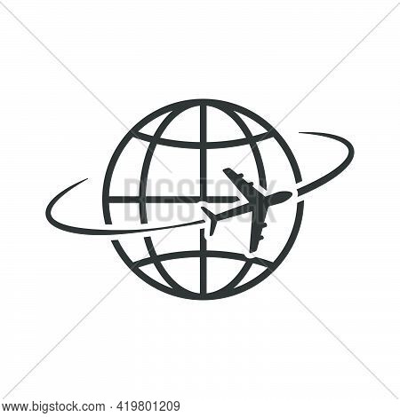 Airplane Flying Around World. Aircraft World Concept. Travel Symbol. Vector Illustration Isolated On