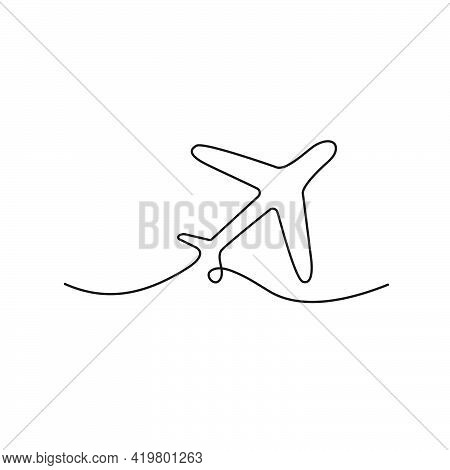 Airplane One Line Drawing. Minimalism Art. Continuous Line Plane Transportation. Vector Illustration