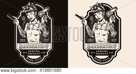 Barbershop Retro Monochrome Badge With Beautiful Winking Female Barber Holding Hair Dryer And Comb I