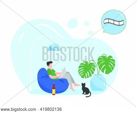 Vector Illustration Man Watching Online Movies On Tablet, Laptop. Relaxing At Home Lifestyle Concept