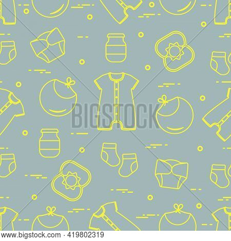 Seamless Pattern With Goods For Babies. Newborn Baby Background. Bib, Baby Food Can, Rattle, Socks,
