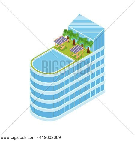 Modern Luxury Hotel Exterior With Outdoor Swimming Pool And Lounges On Roof Isometric Vector Illustr