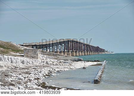 Panorama Of Old Seven Mile Bridge At Florida Key Bahia Honda