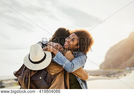 Happy Young Couple Dating Romantic Moment While Embracing Outdoor - Youth People Love And Relationsh