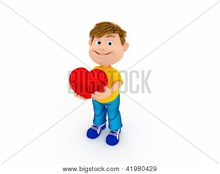 Smiling boy holding a red heart