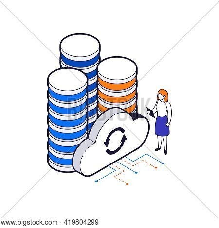 Isometric Big Data Center And Cloud Sync Icon On White Background 3d Vector Illustration