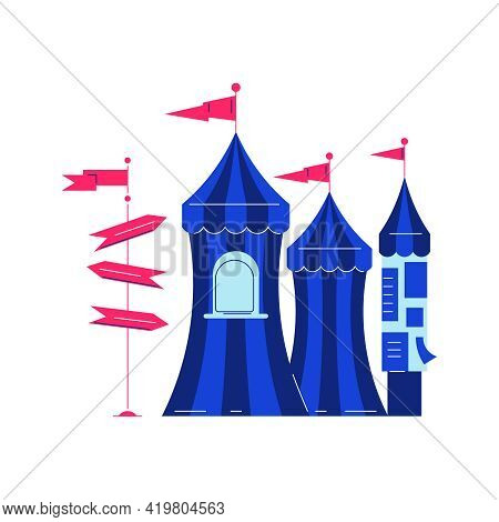 Circus Funfair Composition With Images Of Big Tops With Arrow Pointers Vector Illustration
