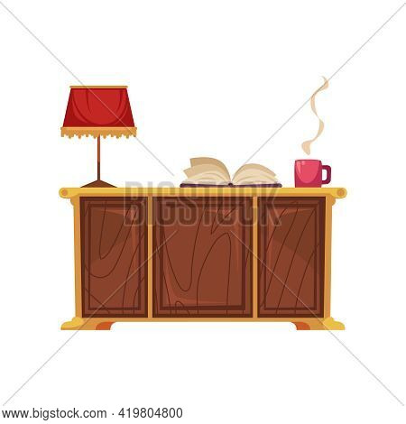Old Library Interior Composition With Front View Of Reading Table With Lamp And Smoky Cup Vector Ill