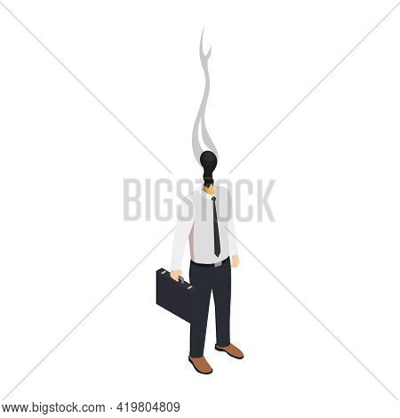 Professional Burnout Depression Frustration Isometric Composition With Business Worker Character Wit