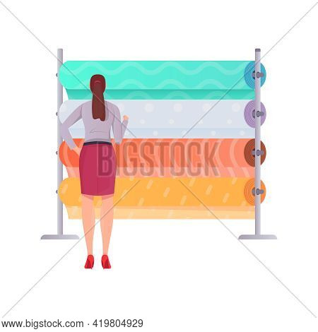 Tailoring Flat Composition With Female Tailor Character And Rack With Fabric Rolls On Blank Backgrou