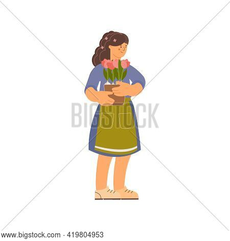 Floristics Flat Composition With Human Character Of Female Florist Holding Flowers In Pot On Blank B