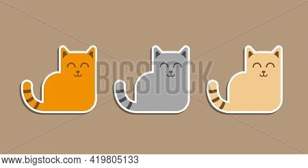 Set Of Three Stickers, Different Colour Cats, Including Ginger, Grey And Beige. Sleepy, Smiling And