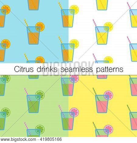 Set Of Four Seamless Patterns.citrus Drinks, Including Orange Juice, Lemonade, Mojito And Grapefruit
