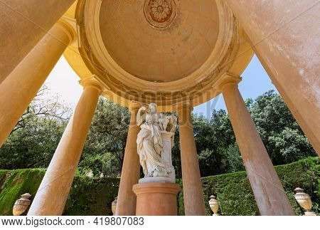 Barcelona - Spain. June 26, 2019: Pavilion With Sculpture In In Park Of The Labyrinth Of Horta (parc