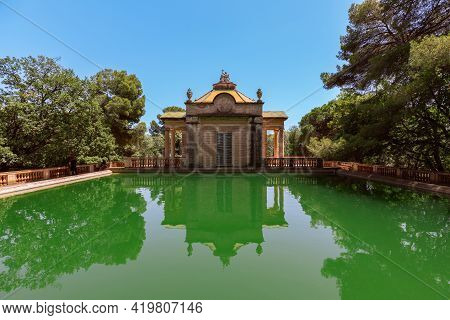 Barcelona - Spain. June 26, 2019: Green Water Pond In The Park Of The Labyrinth Of Horta (parc Del L