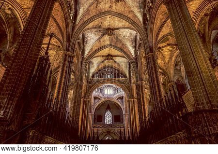 Barcelona - Spain. June 27, 2019: The Interior Of A Stunning Gothic Barcelona Cathedral
