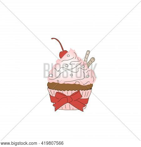 Cupcake In A Pink Shape With A Red Bow And Pink Icing On A White Background.