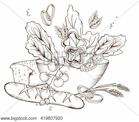 Bowl Of Vegetable Salad And Whole Grain Bread, Engraving Hand Drawn Vector Illustration Isolated On
