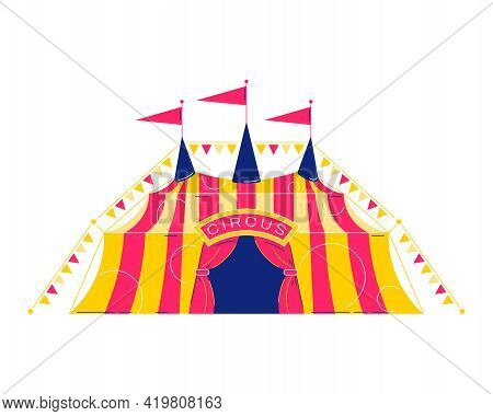 Circus Funfair Composition With Isolated Image Of Classic Circus Big Top Vector Illustration