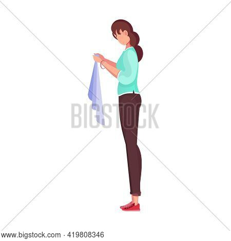 Tailoring Flat Composition With Female Character Of Tailor Holding Clothe In Hands Vector Illustrati