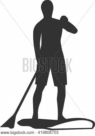 Icon Of A Man Floating On A Board With Oars.