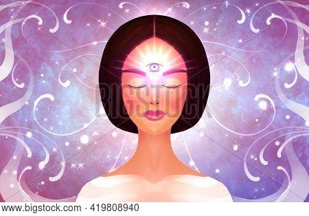 Spiritual Awakening. Meditation, Buddhism, Intuition Opening. Third Spiritual Eye. Woman On The Back