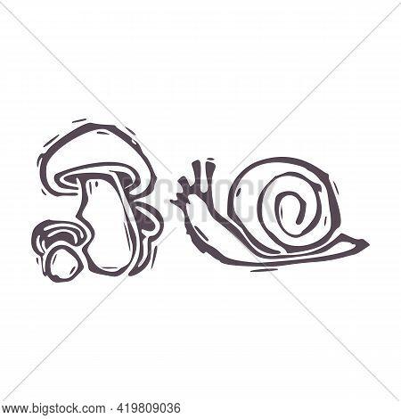 Hand Carved Bold Block Print Snail And Mushroom Icon Clip Art. Folk Illustration Design Element. Mod