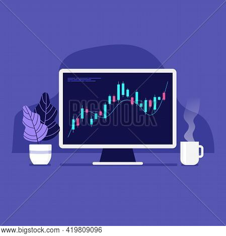 Computer With Positive Forex Chart On Desktop With Coffee Cup. Trade Currency Concept.