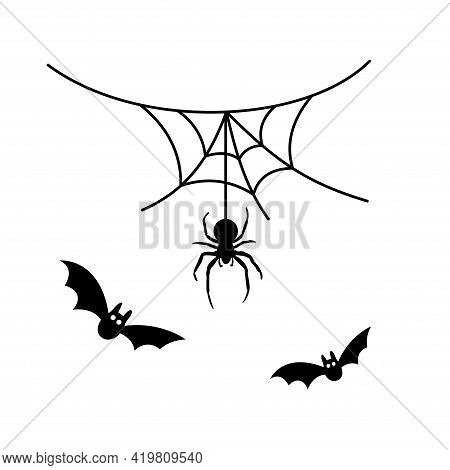 Scary Spiderweb. Black Cobweb, Bat, Hanging Spider, Isolated White Background. Halloween Horror Deco