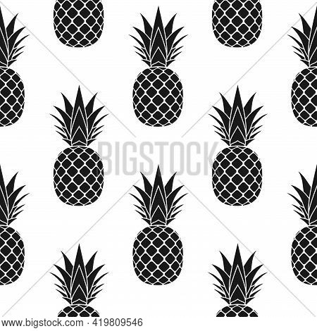 Pineapple Seamless Pattern. Black Tropical Fruits Textile Texture On White Background. Food Print, F