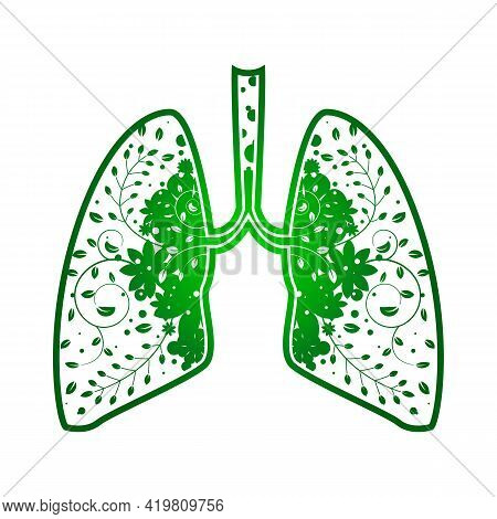 Lungs With Green Leaf. Gradient Tree Outline Vector Medical Illustration. Health Care. Tree Branches