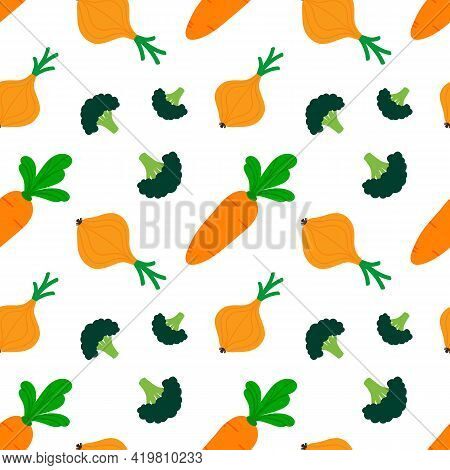 Fresh Vegetables Cute Cartoon Style Vector Seamless Pattern Background With Onion, Broccoli, Carrot.