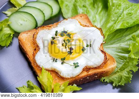 Fried Egg Sunny Side Up On Whole Wheat Toast With Salad And Microgreens Of White Mustard. Toast With