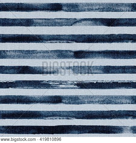 Jeans Fashion Background. Denim Blue Grunge Textured Seamless Pattern With Watercolor Stripes. Texti