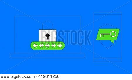 Two Steps Authentication Vector Illustration. Duo Verification By Smartphone Concept. Laptop Screen