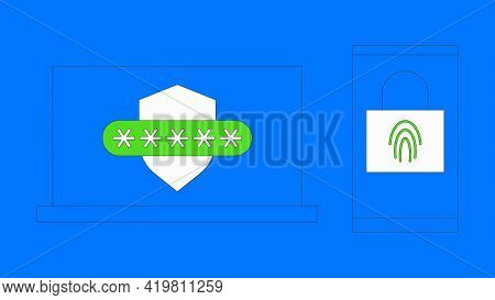 Two Steps Authentication Vector Illustration. Multi Factor Verification By Smartphone Concept. Lapto