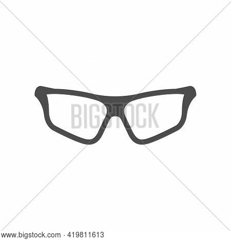 Sport Eyeglasses Glyph Icon Or Spectacles Frame Silhouette