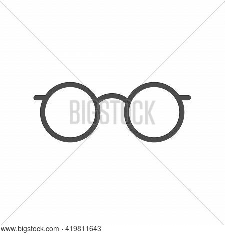 Round Eyeglasses Glyph Icon Or Spectacles Frame Silhouette