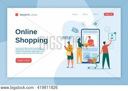Online Shopping Landing Page. Buyers With Shopping Bags. Online Delivery, Digital Marketing, E-comme