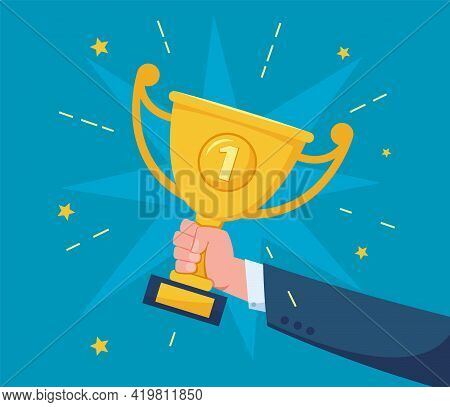 Hand With Trophy Cup. Successful Businessman Holding Golden Trophy Award. Success Celebration, Compe