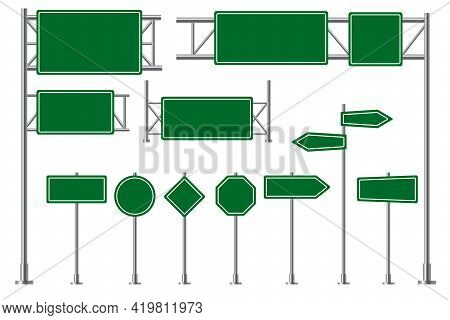 Road Sign. Green Highway Traffic Boards, Route Direction Signboards. Blank Billboard And Arrow Infor