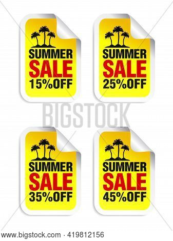 Summer Sale Yellow Sticker Set. Sale 15%, 25%, 35%, 45% Off. Island With Palm Trees. Vector Illustra