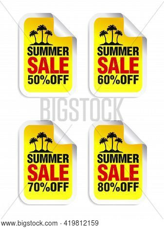 Summer Sale Yellow Sticker Set. Sale 50%, 60%, 70%, 80% Off. Island With Palm Trees. Vector Illustra