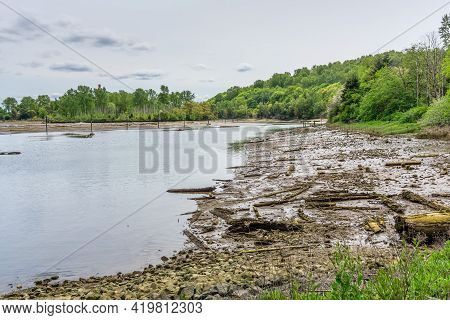 A View Of The Duwamish Waterway And Mud Flats Near Seattle, Washington.